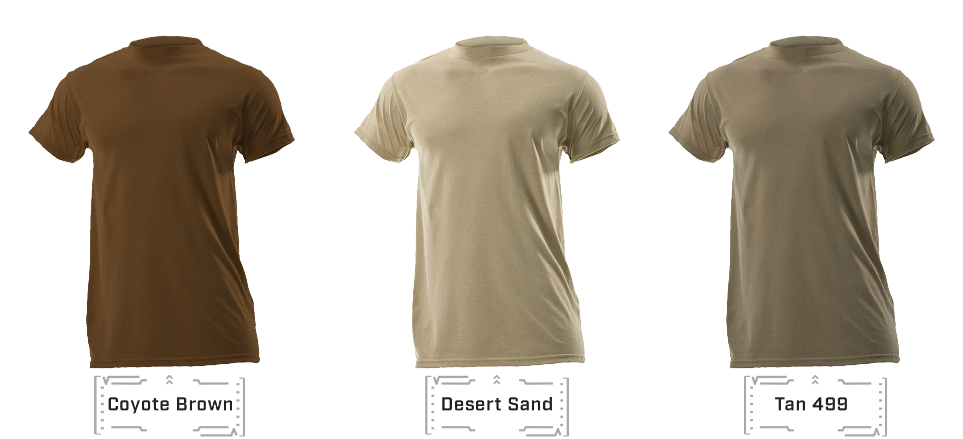 Tan 499, Coyote 498, and Desert Sand shirt comparison
